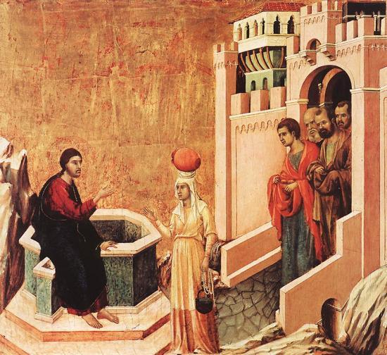 Duccio le christ et la samaritaine
